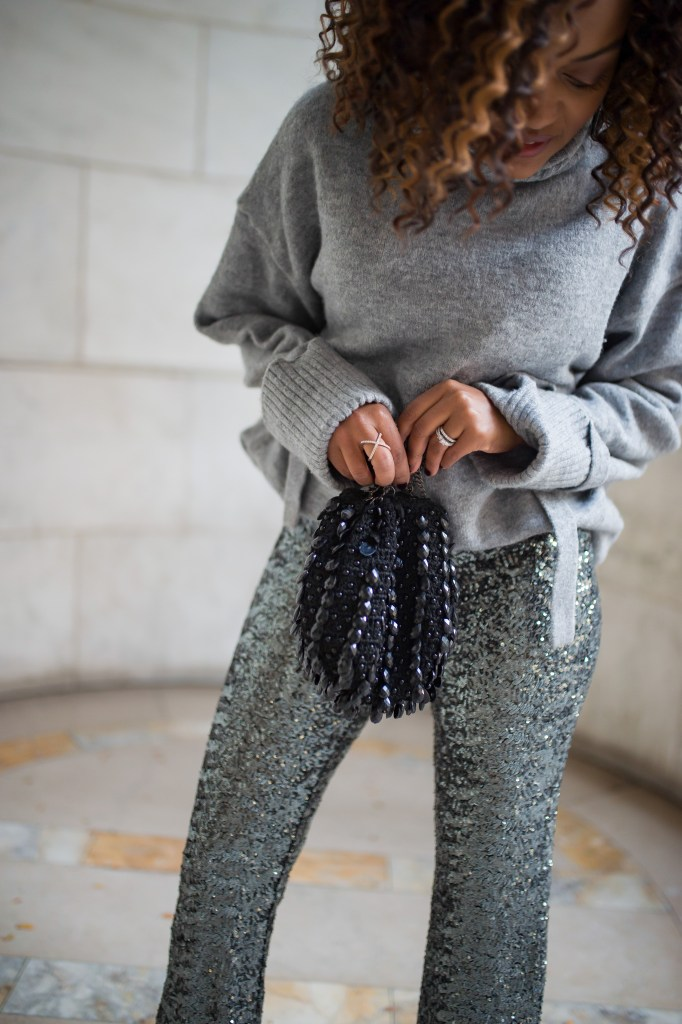 holiday outfit inspo, how to wear sequins, sequin pants, holiday looks, what to wear to christmas party, what to wear to holiday party, holiday party look, christmas party look, how to wear sequins, sequins outfit look, sequins pants outfit, sequins and sweater outfit, zara sequin pants, sequin pants, affordable sequin pants, affordable holiday outfit, holiday street style look, new york public library, new york fashion inspo, office christmas party look, casual holiday looks, casual holiday outfit inspo, dallas blogger, black fashion blogger, dallas black blogger,