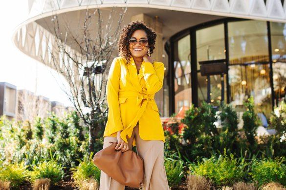 yellow blazer outfit, workwear outfit inspo, what to wear to work, spring blazers outfit, spring blazer inspo, how to wear a blazer, blazer style inspo, stylish workwear, affordable blazers, camel and yellow outfit, camel and yellow color combo, colorful workwear, spring fashion 2020, bottega venetta pouch dupe, dallas fashion blogger, black fashion blogger, affordable workwear outfit