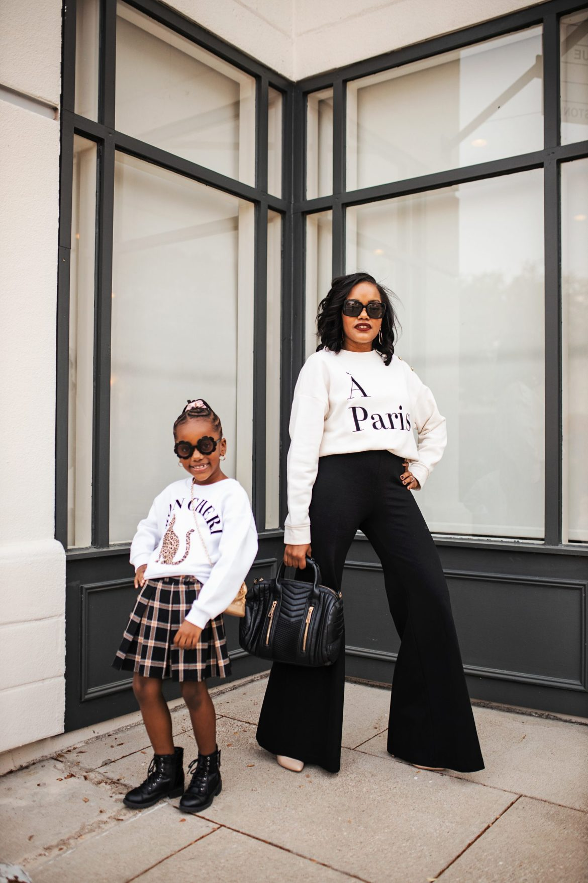 mommy and me outfit ideas, mommy goals black, mommy daughter outfits fall style, mommy daughter street stylegirls plaid skirt outfit idea, how to style mommy daughter looks, girls fall fashion, girls fall outfit ideas, affordable fall fashion, black mom blogger, dallas blogger, dallas fashion blogger, mommy daughter photography, mommy daughter outfits, mommy daughter photography black,