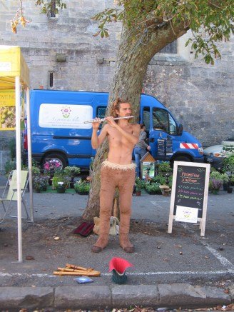 This flute busker looks like he's come straight from Narnia!