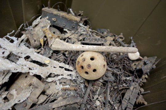 A crematorium tour was part of the festival, too. Metal balls, pins, sockets and screws survive the fire of cremation.