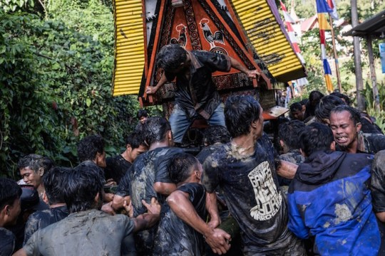 People carry the coffin of Liling Saalino as a part of the Rambu Solo ceremony. When a person dies, pigs, chickens and buffalo are sacrificed, as the locals believe that the animals carry the soul of the deceased into heaven. The number and type of animals killed reflect the social status of the dead person.