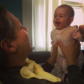 Laughing at Papi.