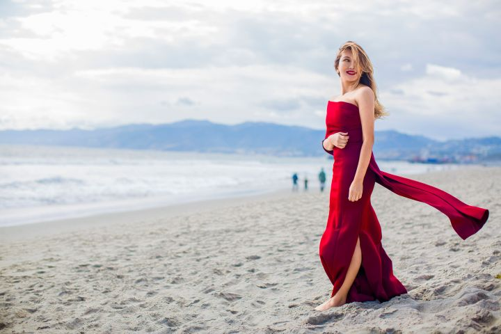 heidi nazarudin in a red dress