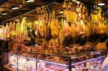 Cured ham is king in Barcelona.