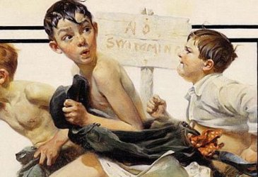 "Norman Rockwell, ""No Swimming,"" 1921."