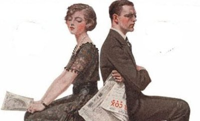 Woman and Man Seated Back to Back, Norman Rockwell, 1920.