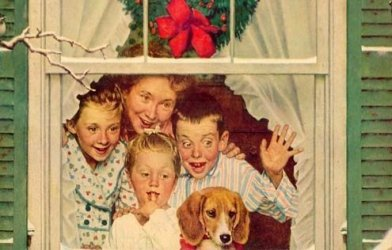 Norman Rockwell illustrated Christmas ad for Plymouth 1951.