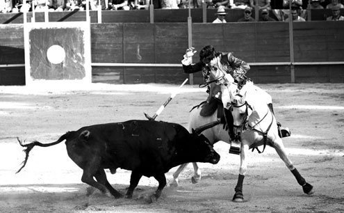 The Spanish version focuses on the matador, who is on foot.