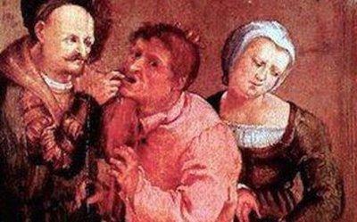 "Detail from ""Farmer at the Dentist"" by Johann Liss, 1616."