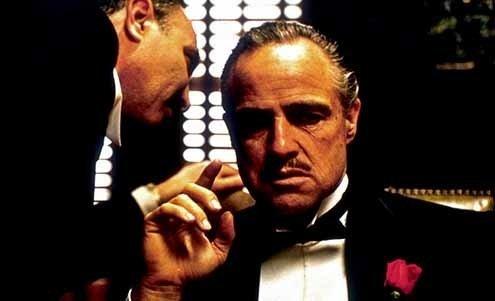 "Marlon Brando in ""The Godfather."""
