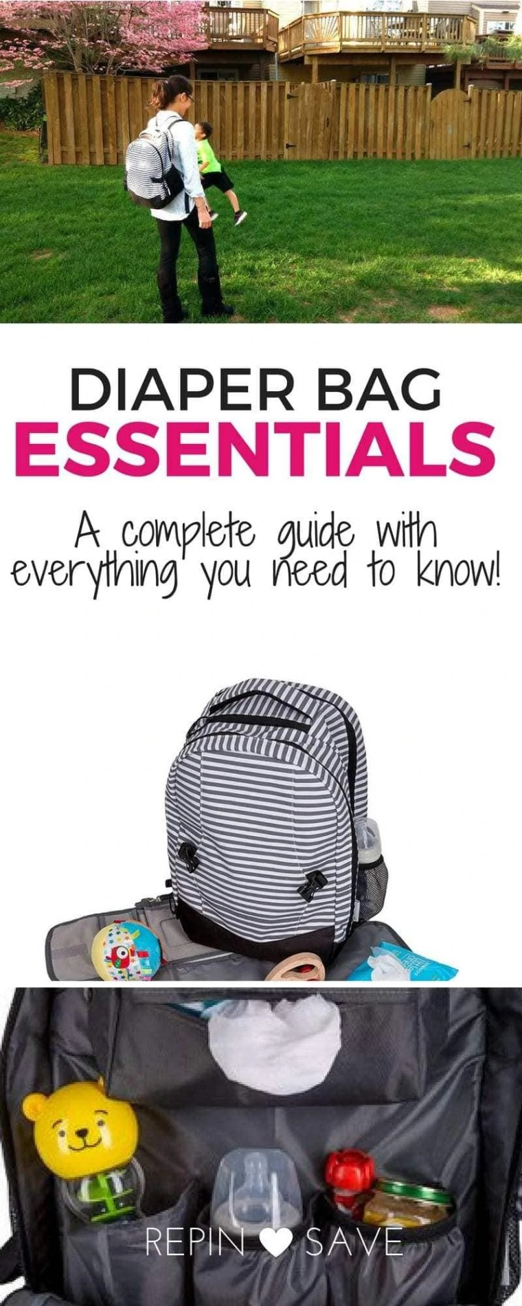 A thorough guide with exactly what you need in your diaper bag and why! A full diaper bag essentials post, plus a Diaper bag backpack review, diaper bag organization tips, and a diaper bag checklist!