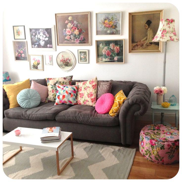 Vintage pops of colour living room