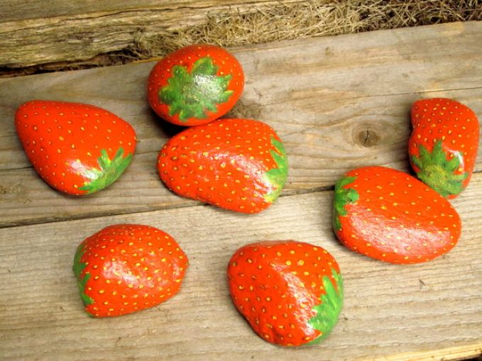 Strawberry painted stones