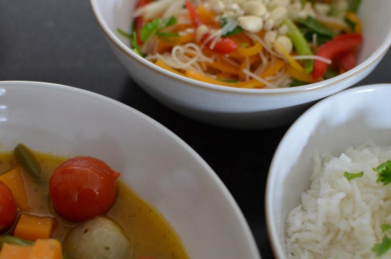 Thai rice, thai green curry thai green salad 2