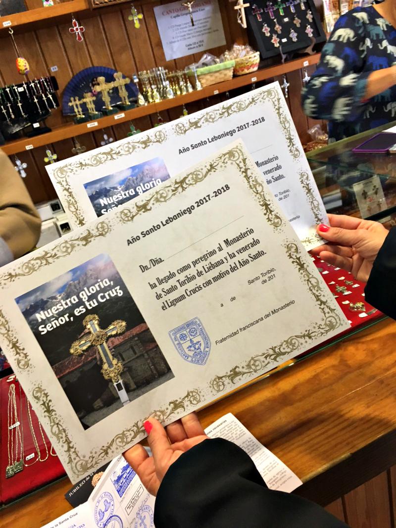 santo toribio de Liebana certificate