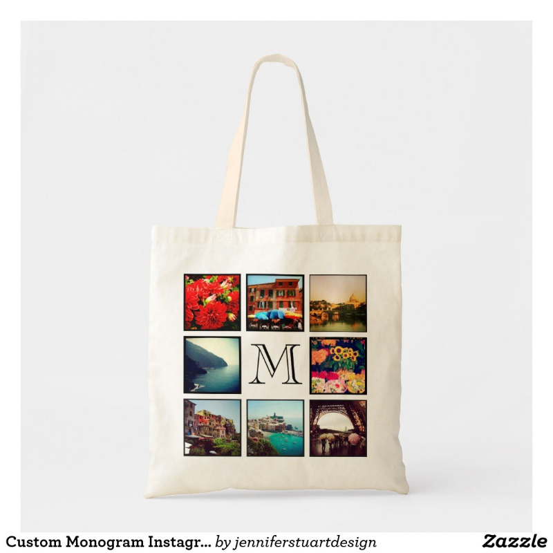 cream canvas bag with photo images printed on it