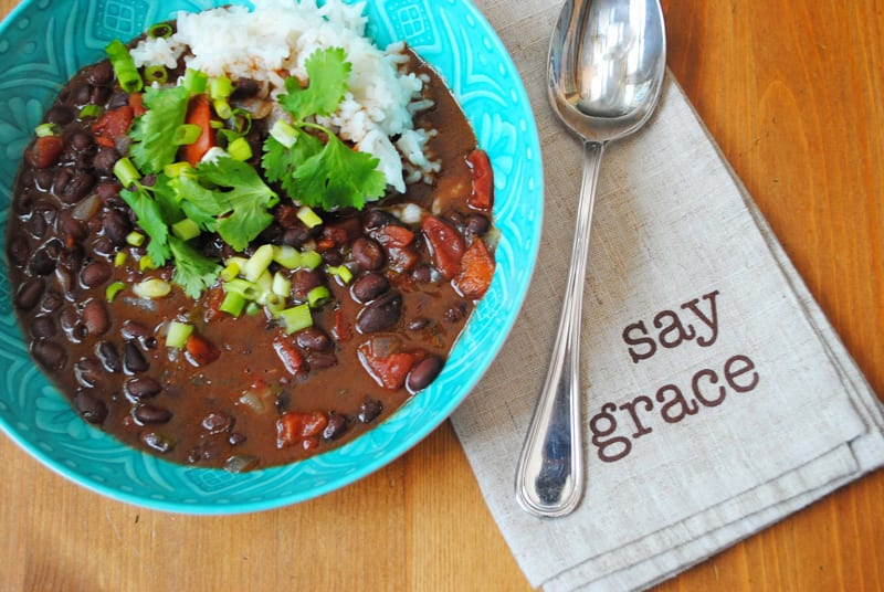 Black Bean Soup with Coconut Rice