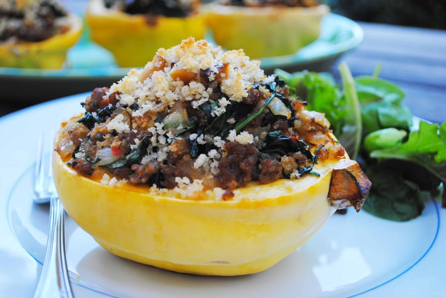 Sausage and Chestnut Stuffed Squash
