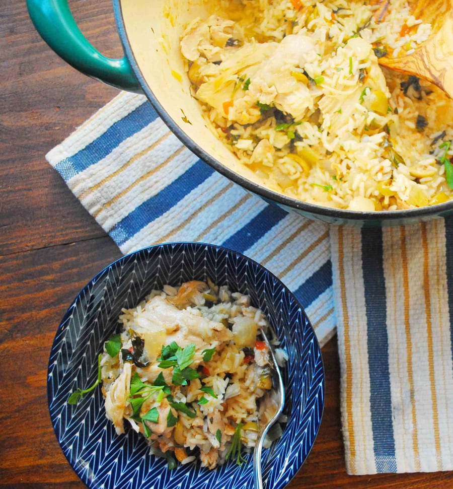 One Pot Lemon Caper Chicken and Rice