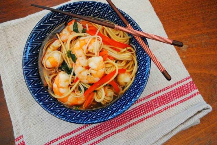 Ginger Sesame Shrimp Noodle Bowls