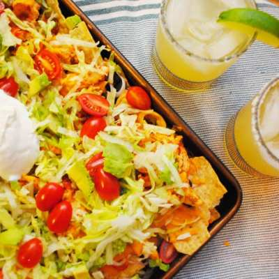 Creamy Chicken Sheet Pan Nachos