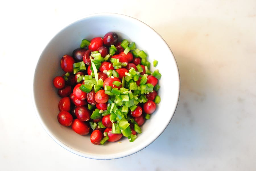 Cranberries and Peppers get ready to heat up for Cranberry Pepper Jelly