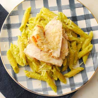 Grilled Chicken Penne with Avocado Pesto
