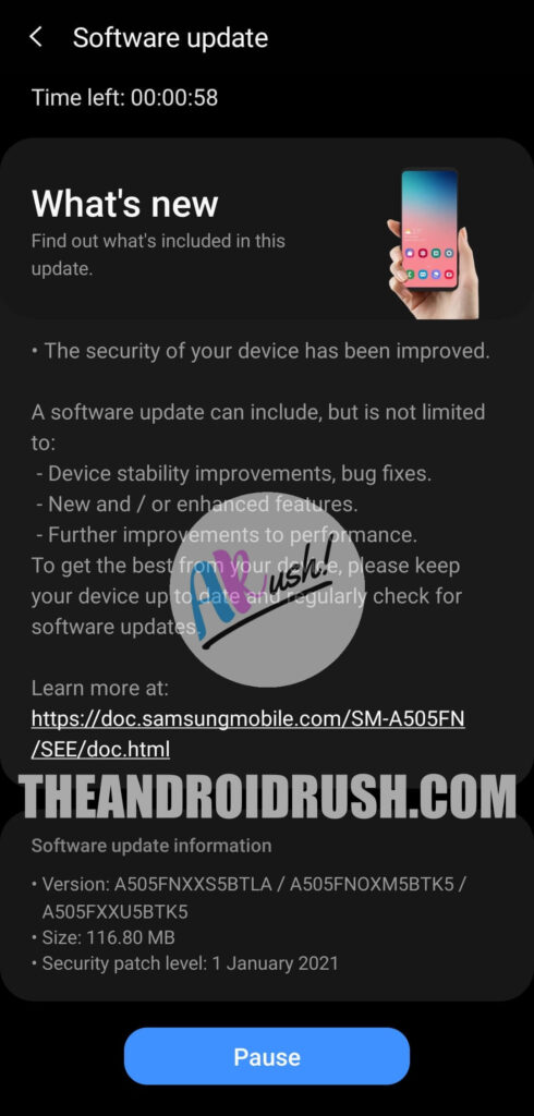 Samsung Galaxy A50 January 2021 Update Screenshot - The Android Rush