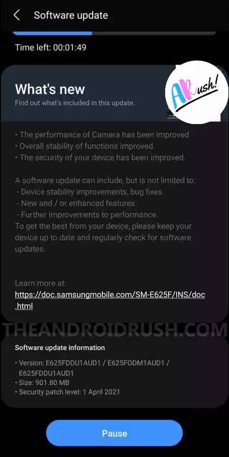 Samsung Galaxy F62 April 2021 Security Update Screenshot - The Android Rush
