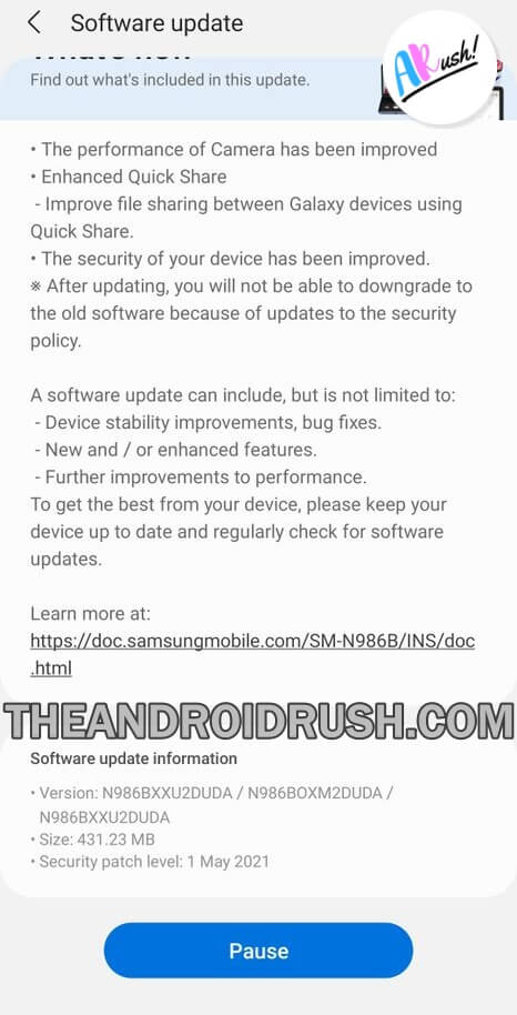 Galaxy Note 20 Ultra May 2021 Security Update Screenshot - The Android Rush