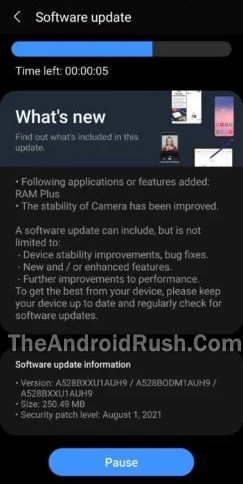 Samsung Galaxy A52s 5G August 2021 Security Update Screenshot - The Android Rush