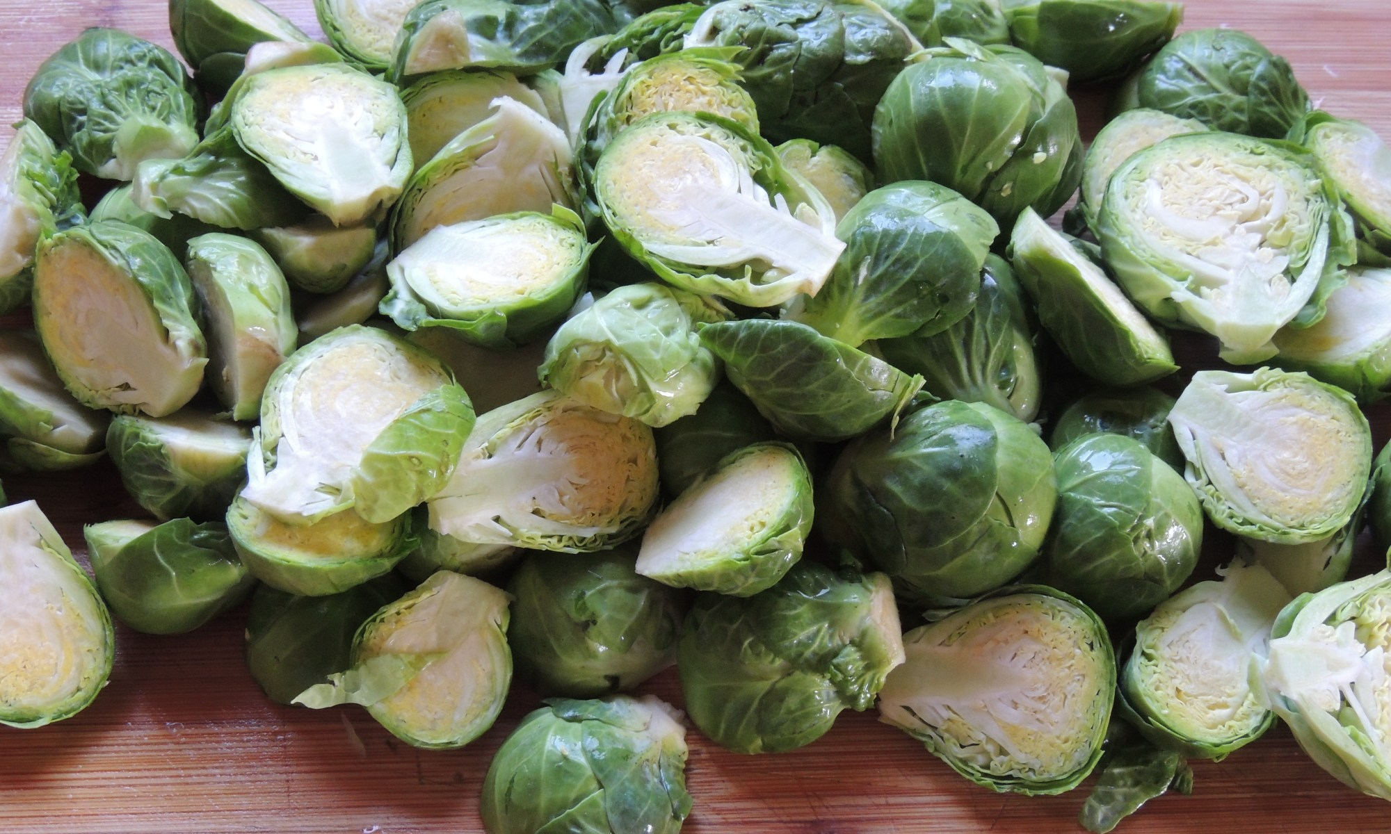 Brussels sprouts slice in half.