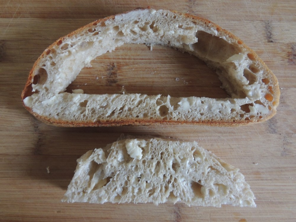 Bread with the center cut out.