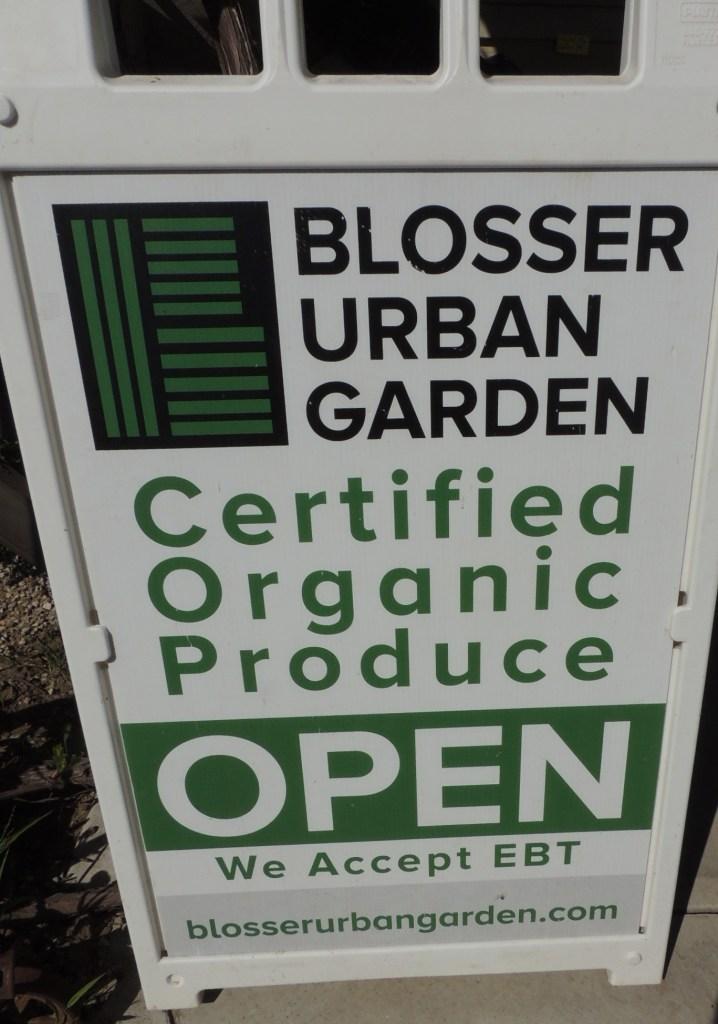 Blosser Urban Garden Farm sign