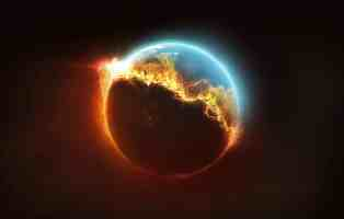 The earth is half on fire and being destroyed