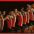 St Kilda line up for the national anthem ahead of their 2020 AFL Second Elimination Final against the Western Bulldogs at the Gabba.