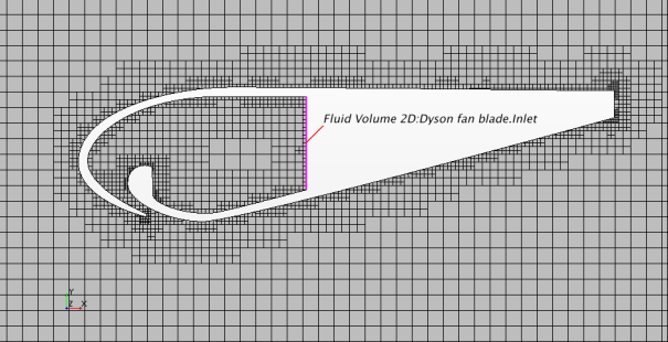 Figure 1. Automatic trimmed mesh for the Dyson replica fan blade.