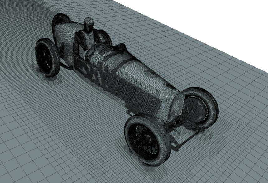 Alfa Romeo P2 surface mesh for CFD