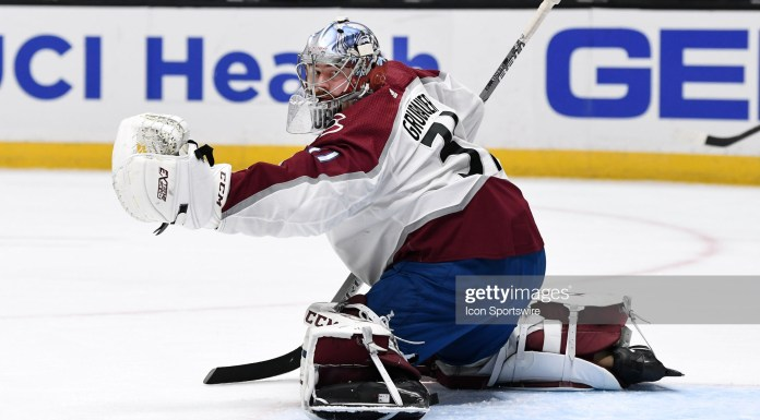 ANAHEIM, CA - JANUARY 22: Colorado Avalanche Goalie Philipp Grubauer (31) watches a puck hit the boards in the second period of a game against the Anaheim Ducks played on January 22, 2021 at the Honda Center in Anaheim, CA. (Photo by John Cordes/Icon Sportswire via Getty Images)