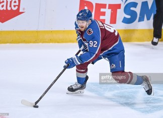 DENVER, CO - JANUARY 26: Colorado Avalanche left wing Gabriel Landeskog (92) skates during a game between the San Jose Sharks and the Colorado Avalanche at Ball Arena in Denver, Colorado on January 26, 2021. (Photo by Dustin Bradford/Icon Sportswire via Getty Images)