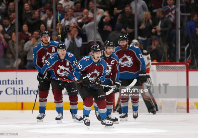 DENVER, CO - MARCH 04: Colorado Avalanche team members skate off the ice following a first period goal by Avalanche Right Wing Vladislav Namestnikov (90) during a regular season game between the Colorado Avalanche and the visiting Anaheim Ducks on March 4, 2020 at the Pepsi Center in Denver, CO. (Photo by Russell Lansford/Icon Sportswire via Getty Images)