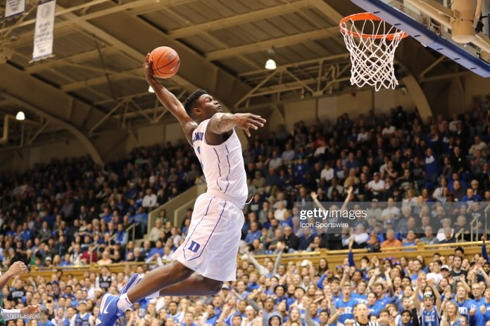 DURHAM, NC - NOVEMBER 14: Duke Blue Devils forward Zion Williamson (1) goes for the dunk during the 1st half of the Duke Blue Devils game versus the Eastern Michigan Eagles on November 14, 2018, at Cameron Indoor Stadium (Photo by Jaylynn Nash/Icon Sportswire via Getty Images)