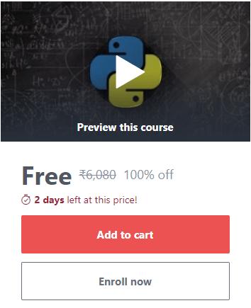 udemy python free courses