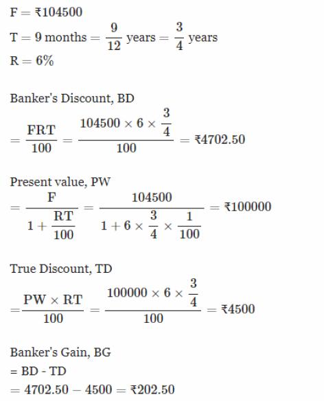 important formulas - bankers discount formula,