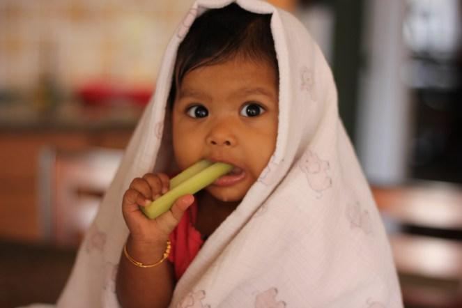 Asha eating Celery