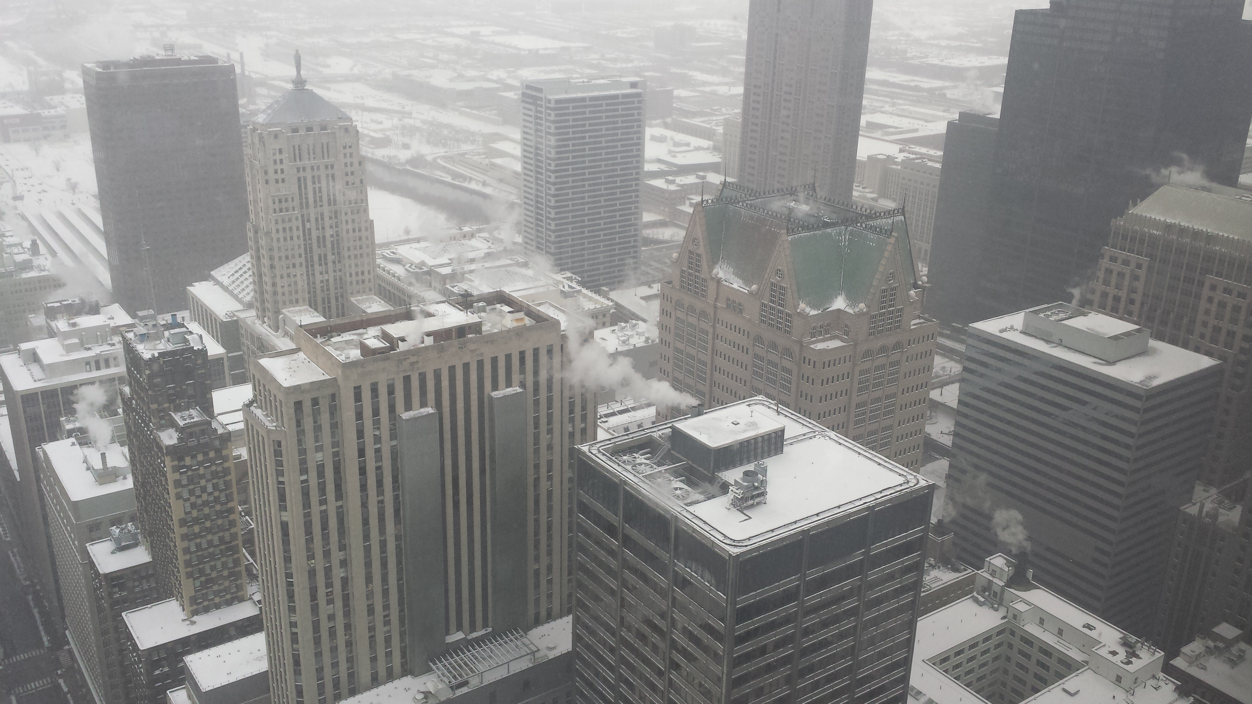 Chicago skyline view in winter from Chase Tower