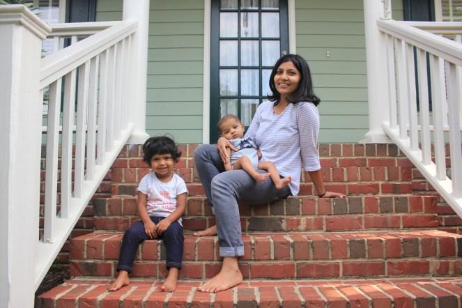 Chika, Asha, Arjun on the front stoop