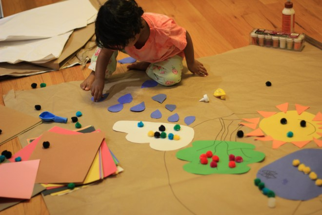 Asha doing arts and crafts at home