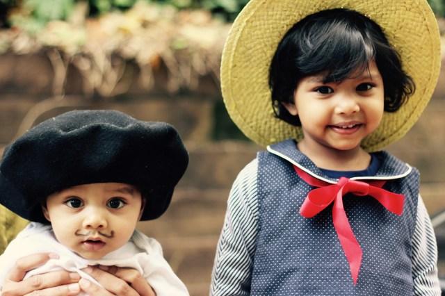 Halloween 2015. Asha as Madeline. Arjun the French Artiste